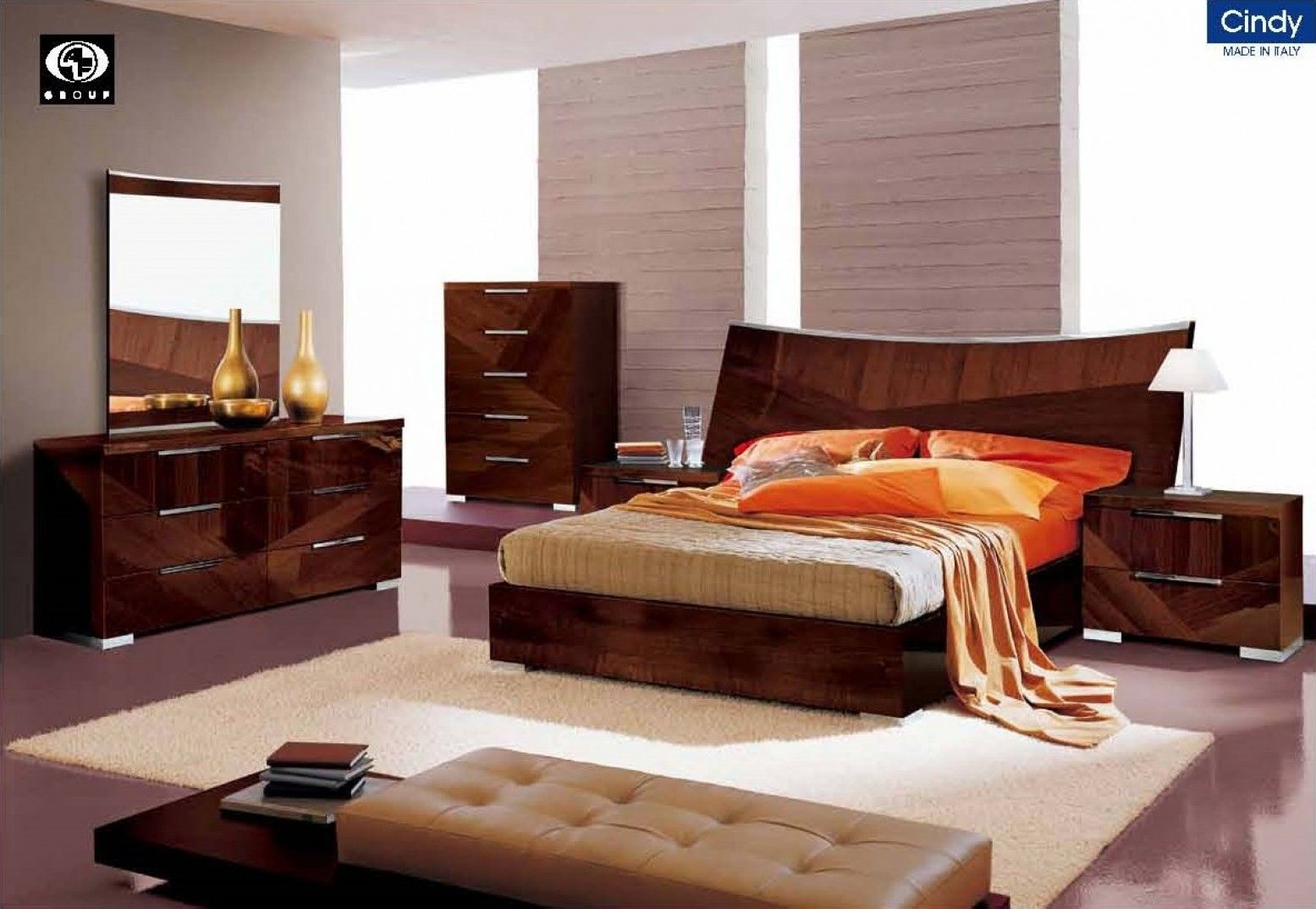 cindy bedroom collection in walnut lacquer finish