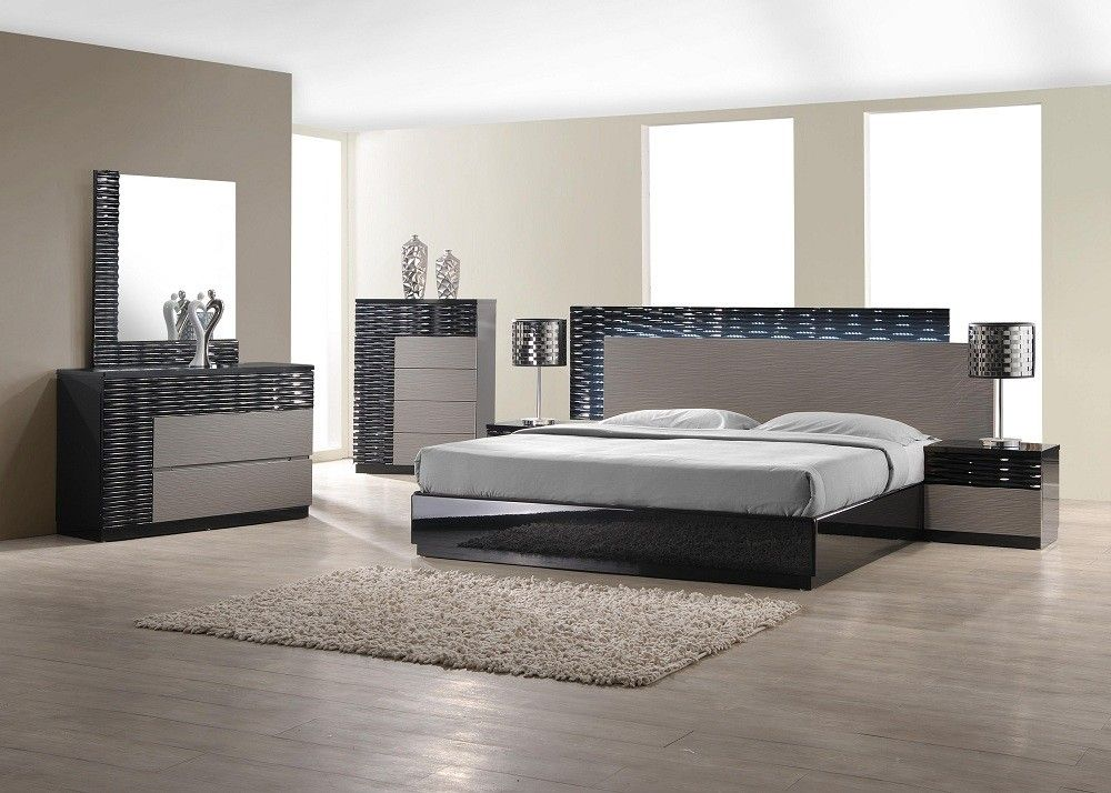 roma bedroom set in black and gray