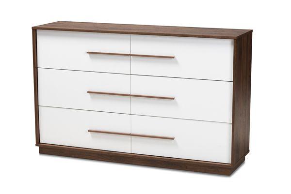 mette mid century modern white and walnut finished 6 drawer wood dresser