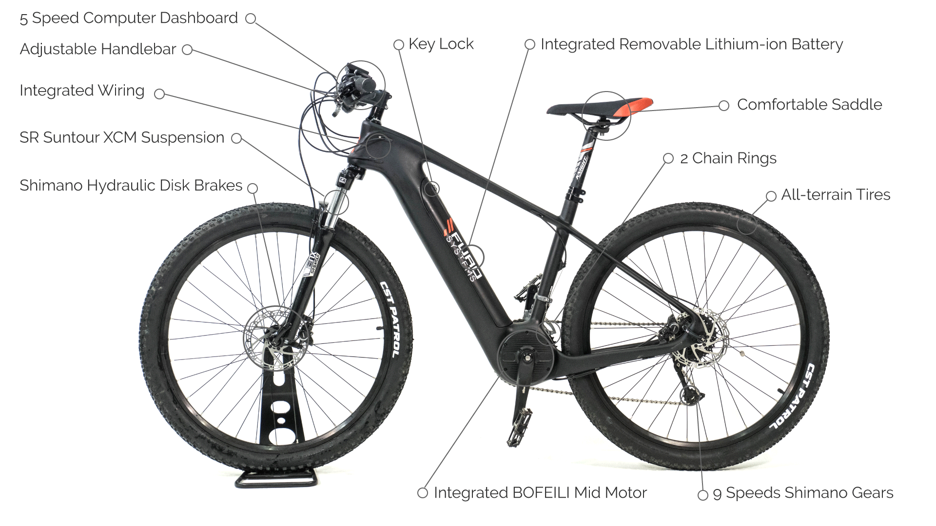 Electric mountain bike features