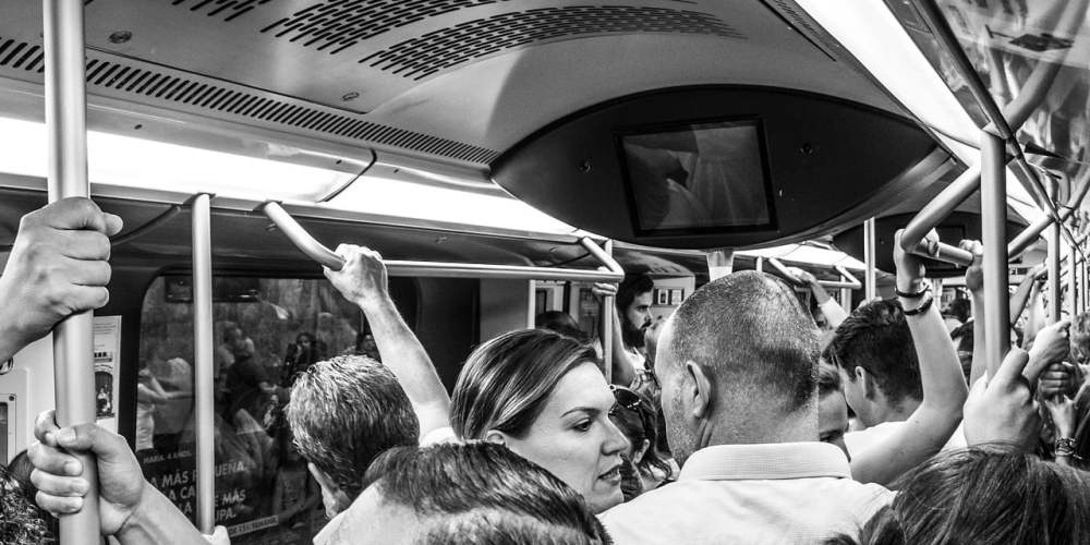 Commuters on a metro