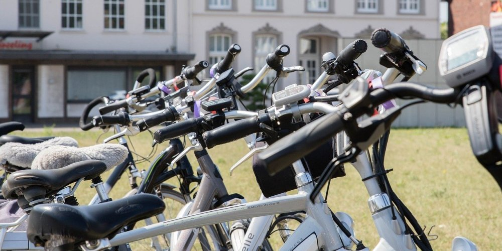 Electric bikes in a row