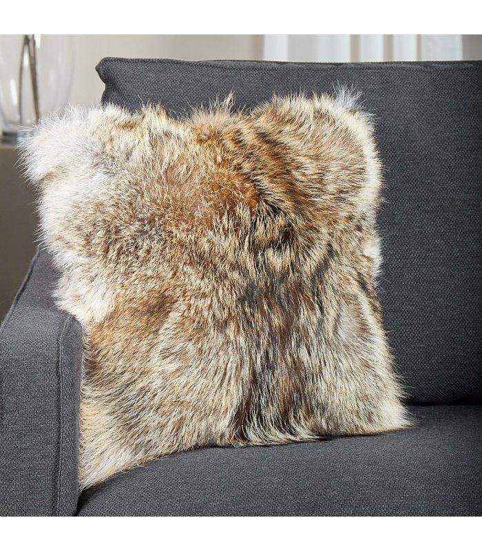full pelt coyote fur pillow