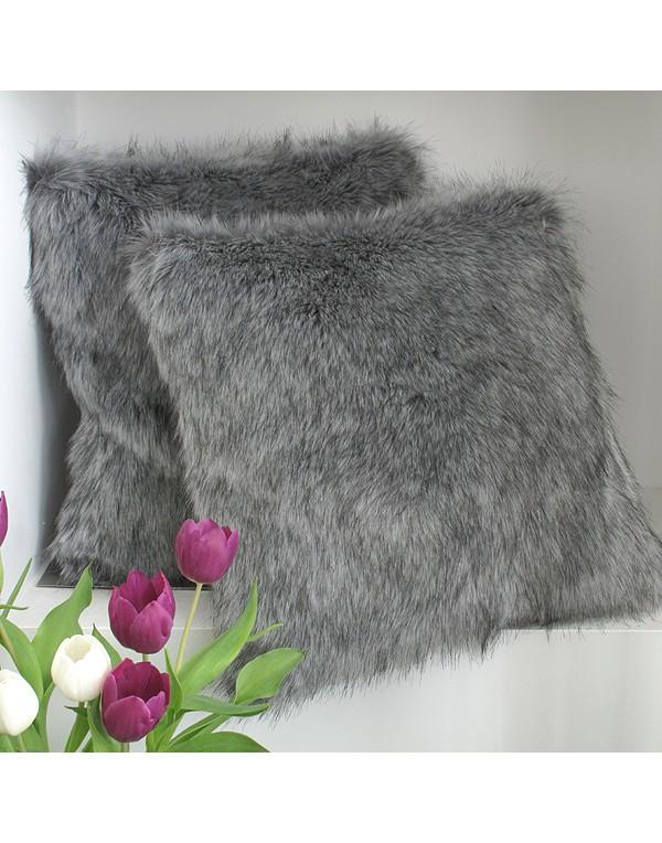 grey squirrel faux fur cushion