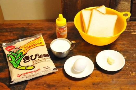 簡単フレンチトーストの材料はこちら