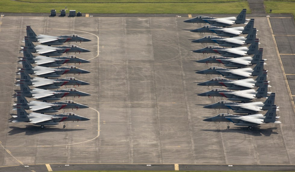The F-15s evacuated due to Typhoon Maria.(U.S. Air Force)