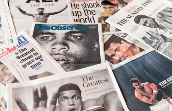 Edinburgh, UK - June 5, 2016: The front pages of a collection of British newspapers, featuring images taken during the career of former world heavyweight champion boxer Muhammad Ali, following his death on 3rd June 2016.