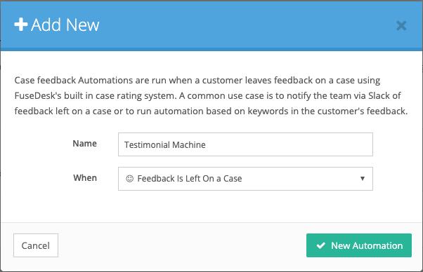 Feedback Left Automation for Testimonial Machine