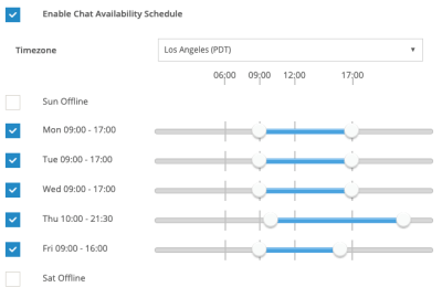 Scheduled Live Chat Availability