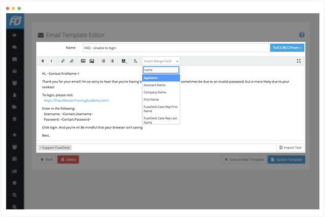 CRM Templates and Merge Fields right in FuseDesk