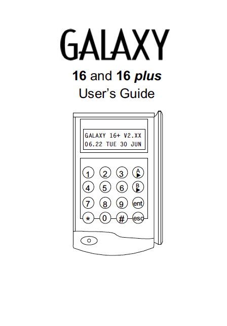 Honeywell Galaxy 16 & 16+ User Manual