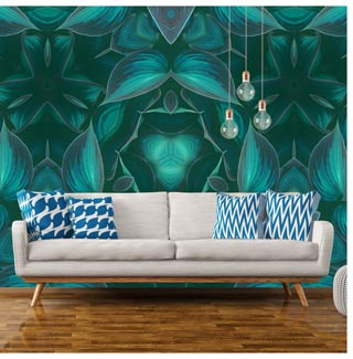 A leaf themed original wallpaper mural design perfect for any living room with botanical tendencies.