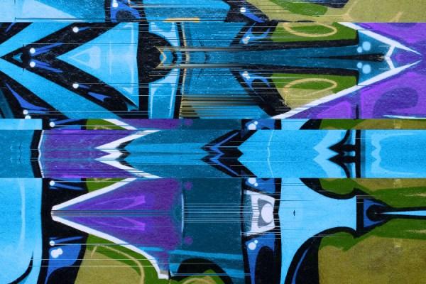 Urban graffiti glitch mural wallpaper design in blue