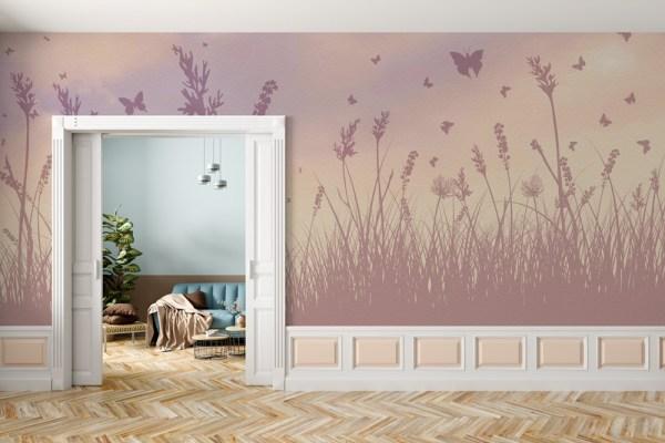 dark butterfly field mural wallpaper