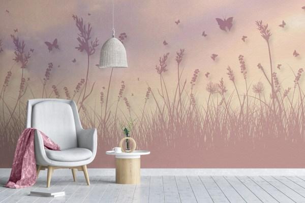 warm butterfly field wallpaper