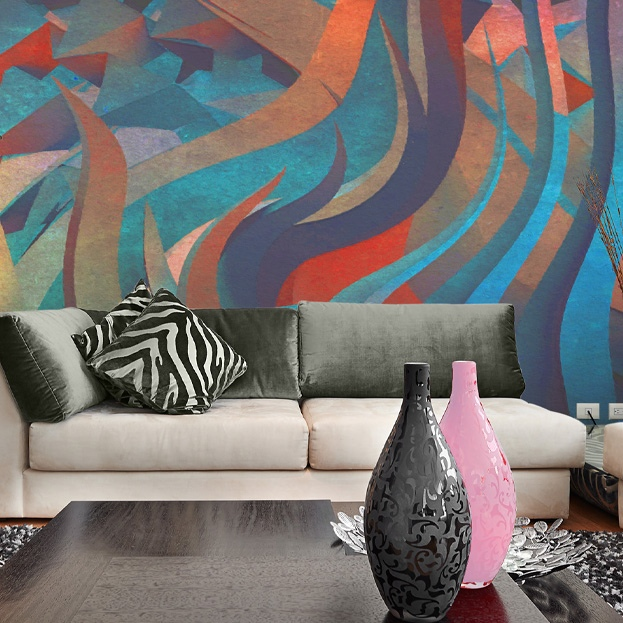 abstract wave wallpaper mural design