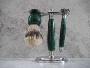 A beautiful shaving set made from green Malachite. A perfect gift for him.
