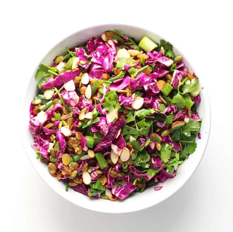 Citrus Summer Slaw With Toasted Almonds & Raisins. Perfect for Summer BBQs, 4th of July and Memorial Day! |FusionCraftiness.com