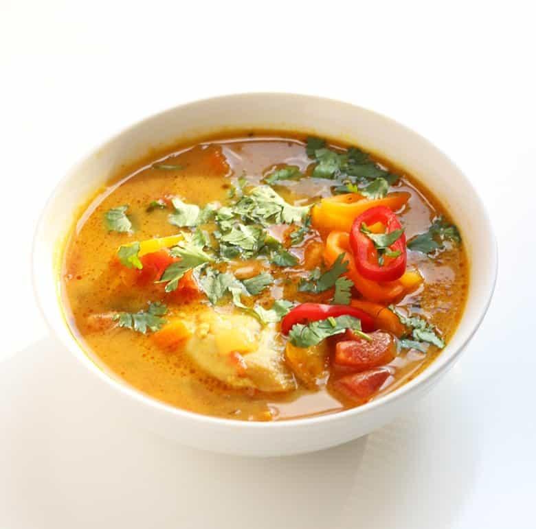 African Groundnut Stew with Chicken. A traditional African soup made with chicken and peanut butter powder.