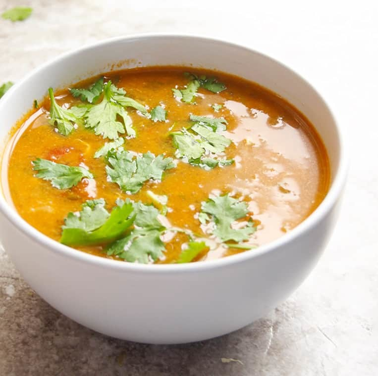 A hearty and nourishing soup from Morocco. This delicious soup has lentils, chickpeas, beef, celery, onion, tomatoes and spices. Garnish with lemon juice and fresh herbs. A perfect soup on a chilly Fall day or to break fast.