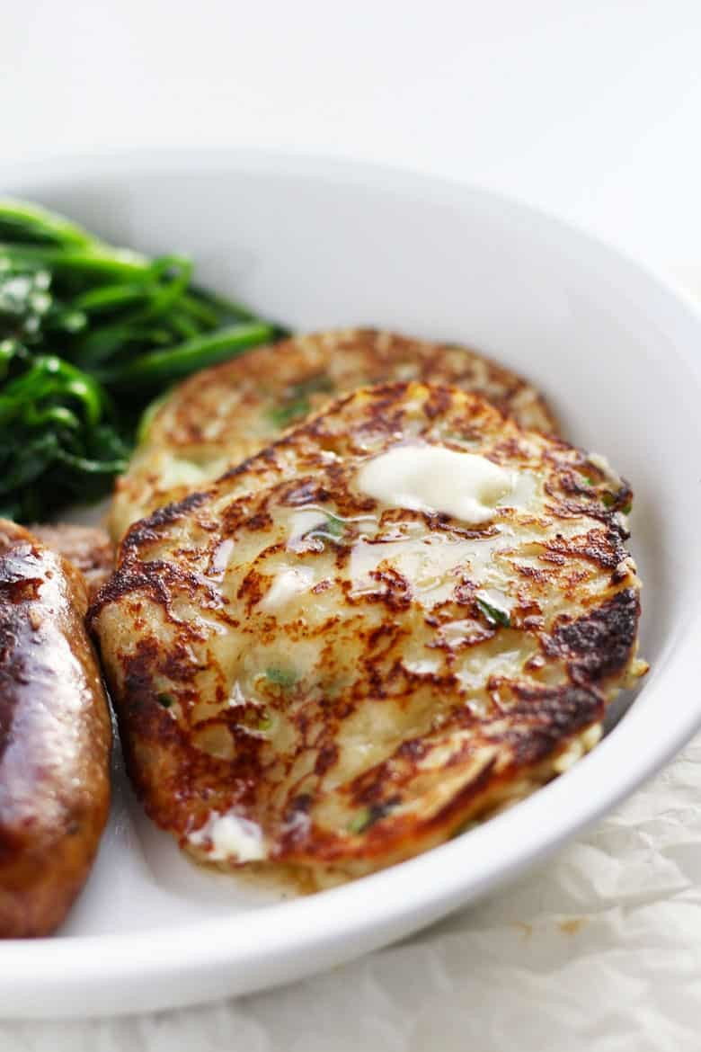Authentic and traditional Irish Boxty, a tasty potato pancake from Ireland. Don't just make this recipe for St. Patricks Day, it's too good!