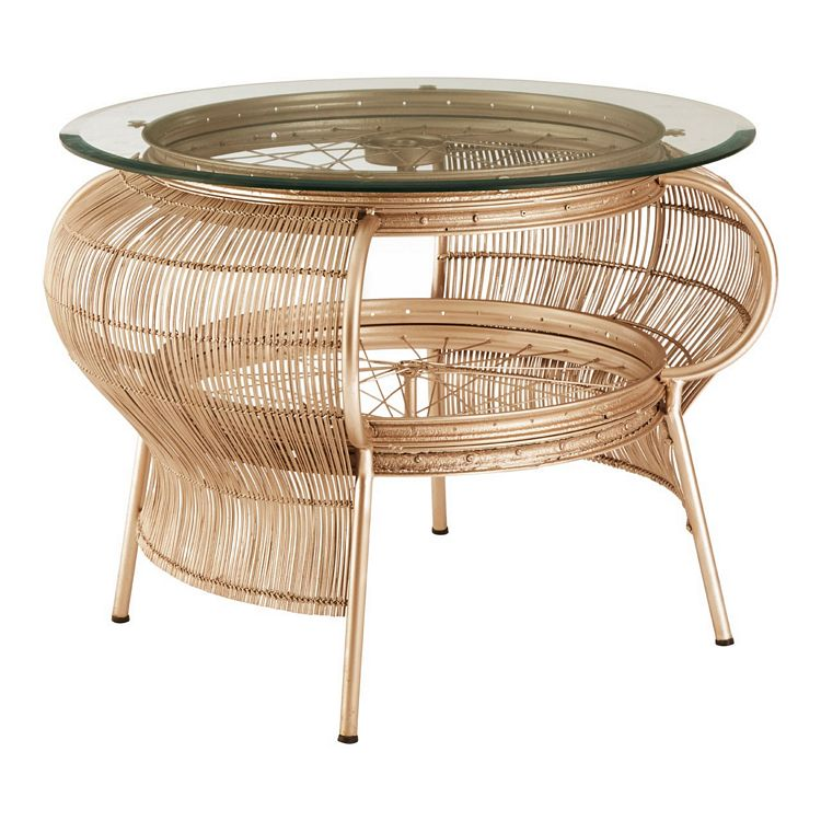 mantis champagne gold finish with bamboo and clear glass top coffee table