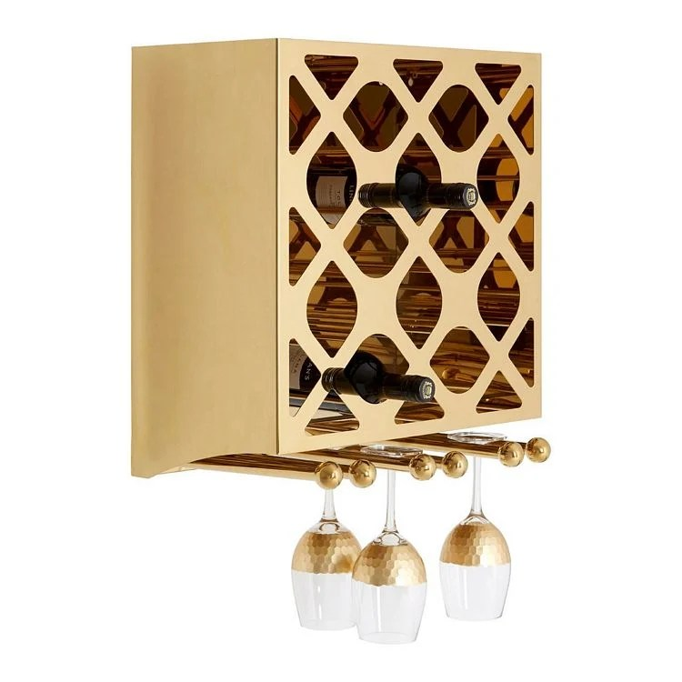 novo gold metal wall mounted 12 bottle wine rack with glass holder