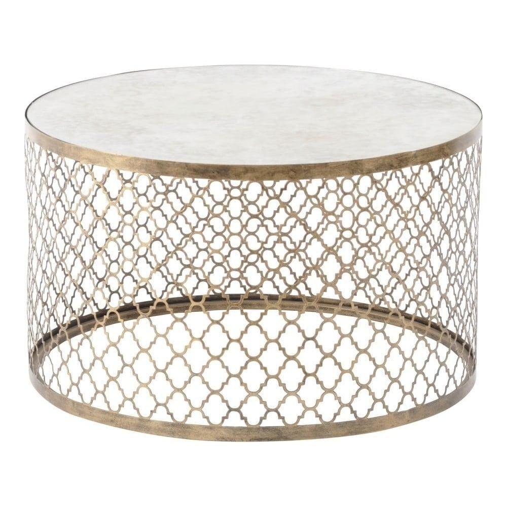 libra furniture antique gold circular coffee table with mirrored top