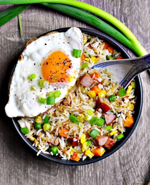 Image result for Fried Rice with Spring Vegetables and Fried Eggs