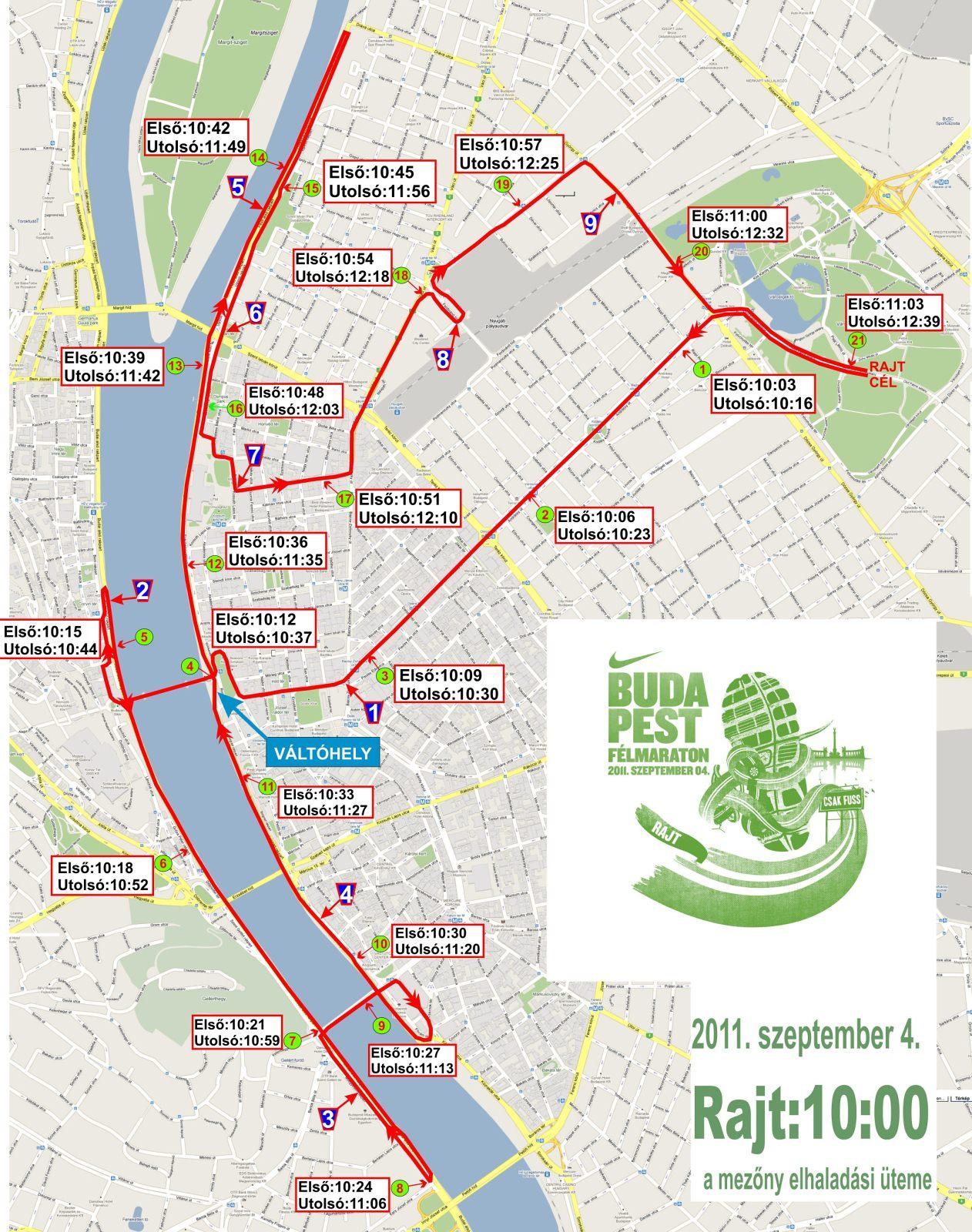 Forgalmi korlátozások és útlezárosok Budapesten a nike Budapest félmaraton futóverseny ideje alatt