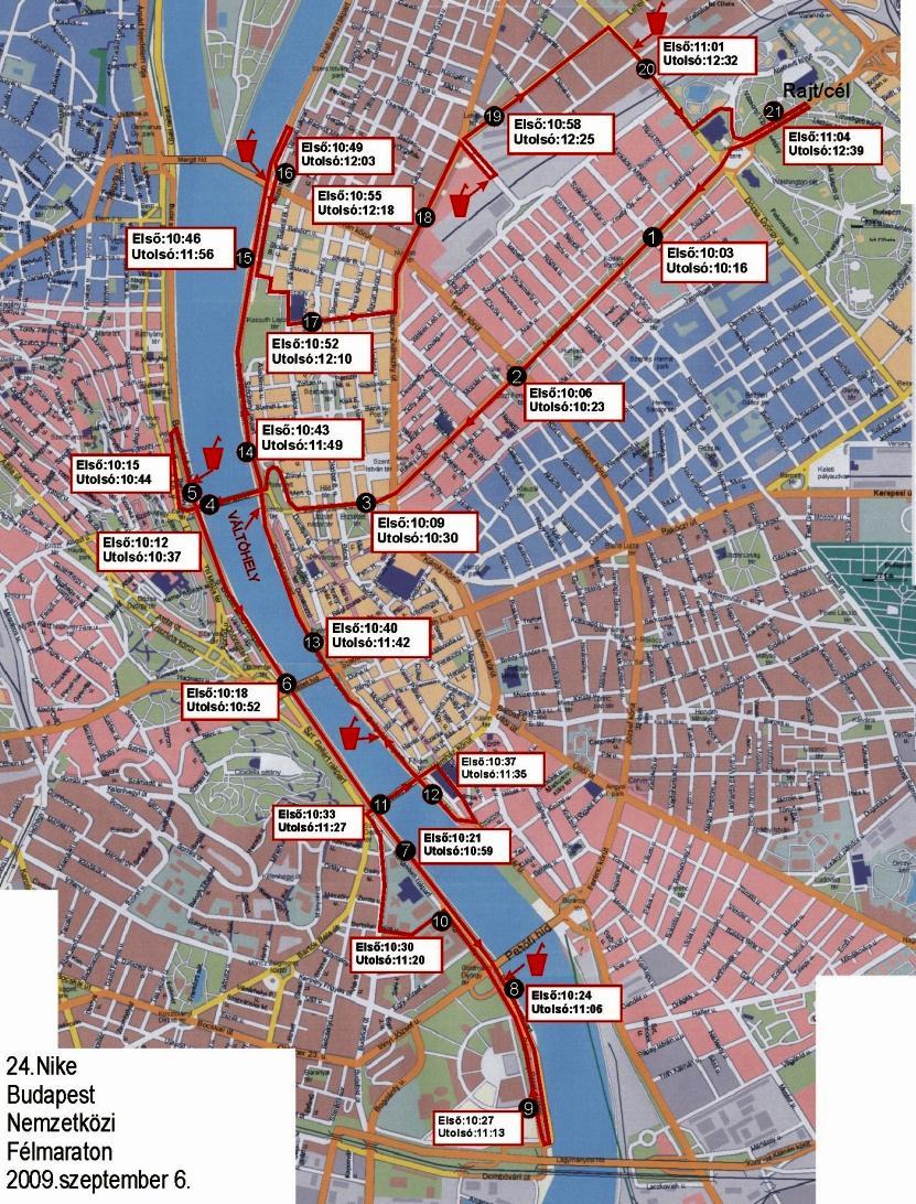 24 Nike Budapest Nemzetközi Félmaraton 2009 futás útvonala és útlezárás