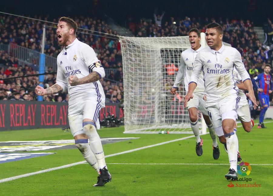 ¡Sergio Ramos con la salvada! El Madrid empató sobre la hora y dejó a los blaugranas con las ganas de celebrar. Foto: laLiga.es