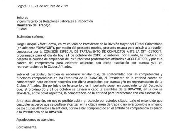 Carta Dimayor