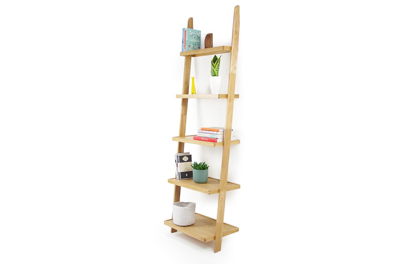 Oak Leaning Ladder Shelves