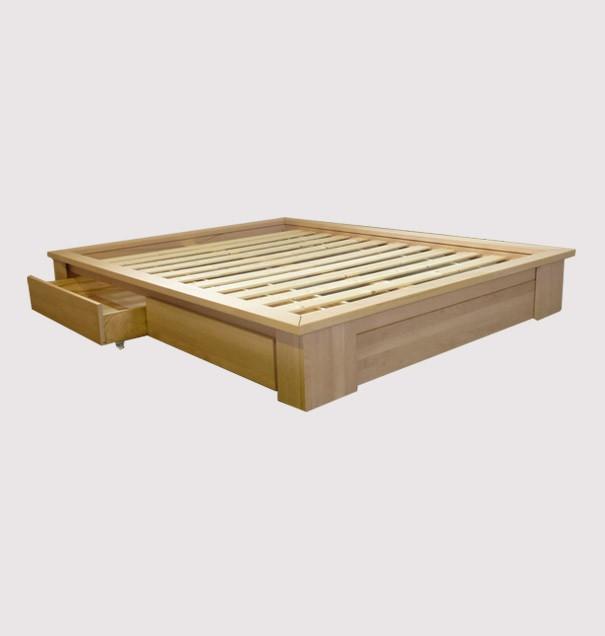 stockholm a tiroirs cadre sommier finition bois brut naturel dimensions futons 90 x 200 cm composition du couchage cadre sommier a lattes