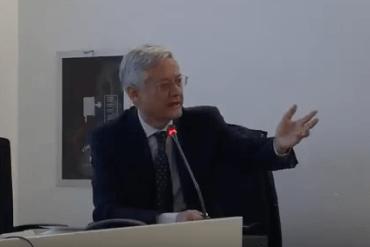 Il presidente dell'Accademia della Crusca Claudio Marazzini, durante la sua lectio in occasione dell'inaugurazione del secondo anno del Master in Giornalismo all'Università di Torino