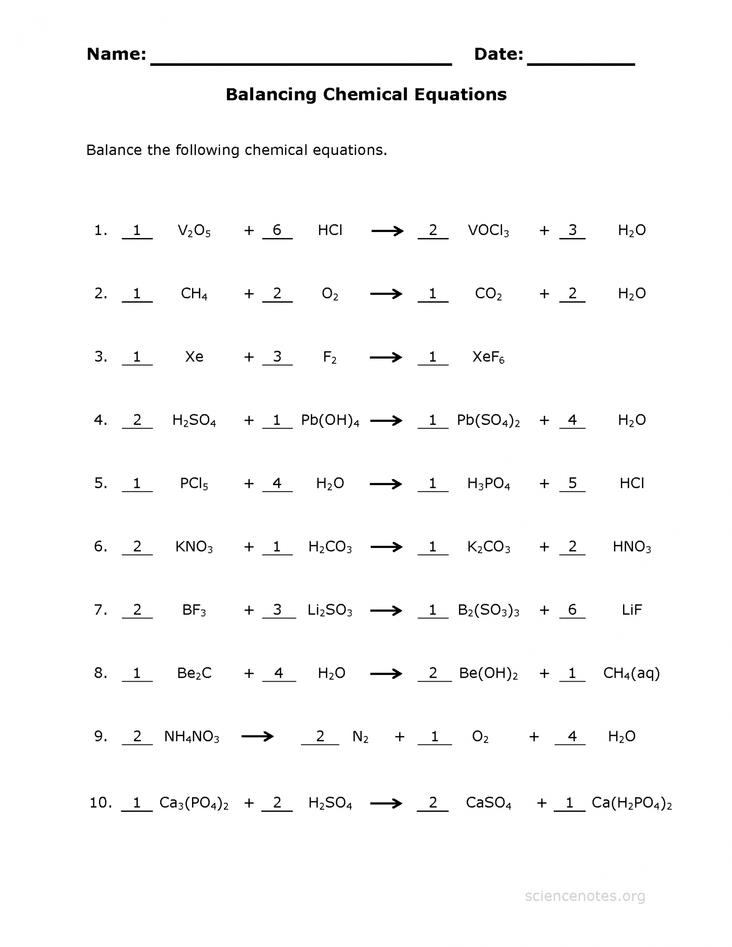 Balancing Chemical Equations Worksheet Middle School