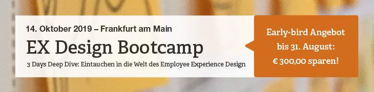 Im EX Design Bootcamp der hkp/// group lernen Sie, wie sie agile Methoden wie Design Thinking einsetzen - und wie sie damit positive Erlebnisse für Mitarbeiter generieren!