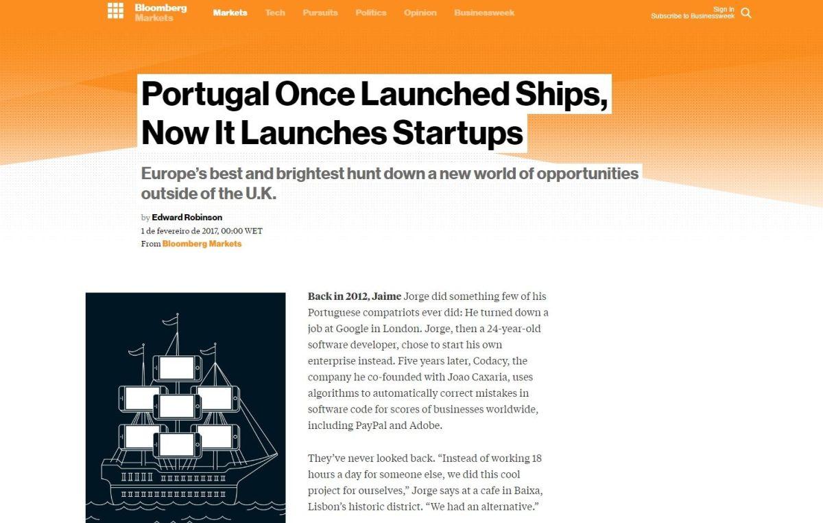 Empreendedorismo português Bloomberg