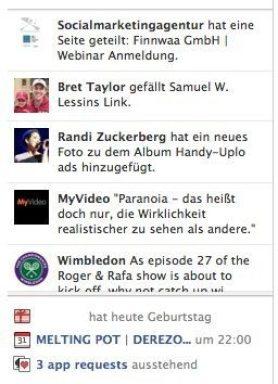 Facebook-App-Requests-Startseite