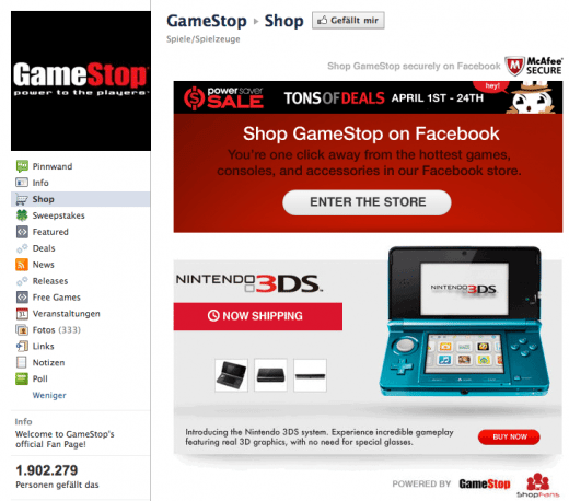 Facebook Shop von Gamestop