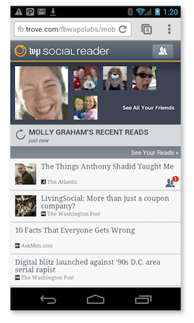 WP Social Reader für Facebook Mobile