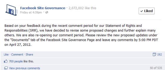 Facebook ändert Nutzungsbedingungen