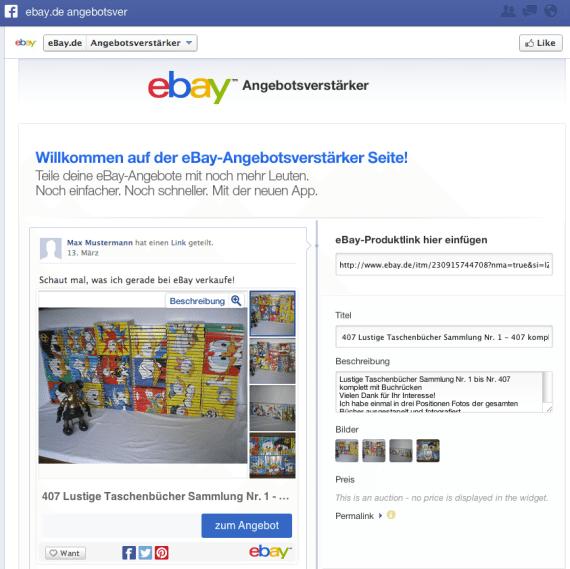 ebay.de - Facebook Commerce Angebotsverstärker