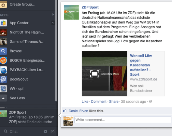 Facebook Ticker - Neues Newsfeed Design