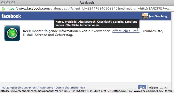 Facebook App Berechtigungen - Dialog (Read)