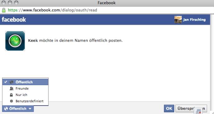Facebook App Berechtigungen - Dialog (write)