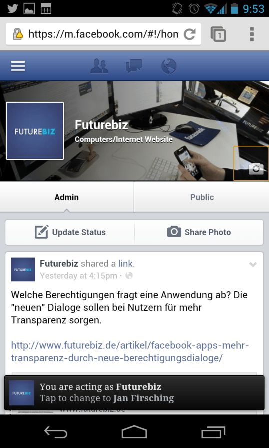 Facebook Mobile - Design Administration
