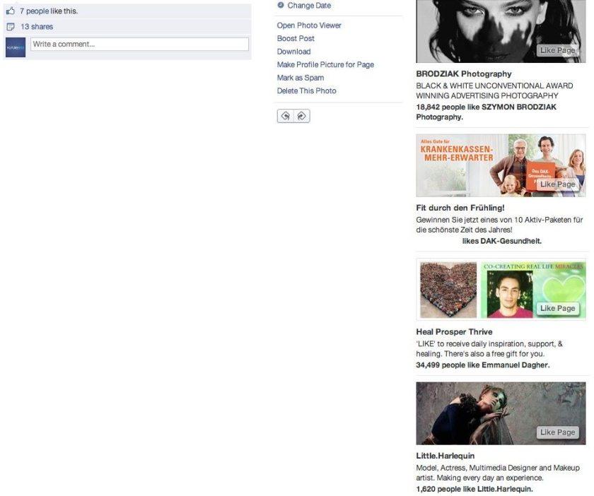 Facebook Anzeigen rechte Spalte - neue Version Positionen