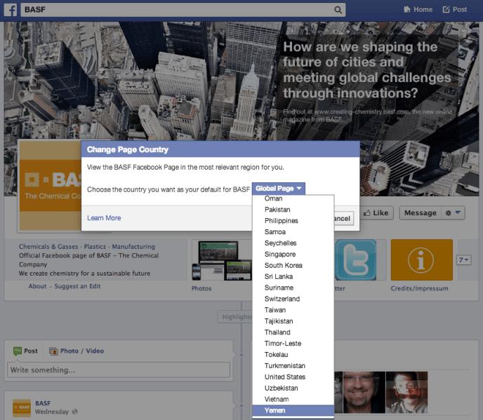 Facebook Globale Seitenstruktur BASF